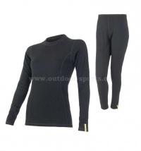 Akční set SENSOR Double Face MERINO WOOL dámský dlouhý rukáv + nohavice černá - XL