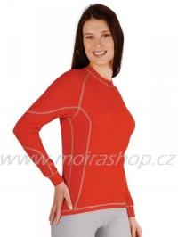 MOIRA DUO dámské triko s dlouhým rukávem červená šedý šev