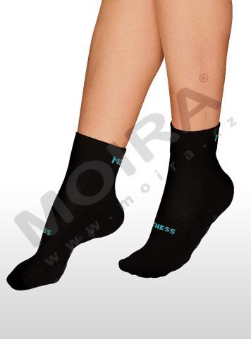 MOIRA ponožky FITNESS černo-tyrkysová